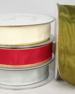 Geschenkband mit Gold-/Silberkante in 25 mm, mit Drahtkante - weihnachtsband, geschenkband-weihnachten-einfarbig, geschenkband-weihnachten-dauersortiment, geschenkband-weihnachten