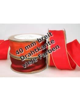 Geschenkband mit Gold-/Silberkante in 40 mm, mit Drahtkante - geschenkband-weihnachten-einfarbig, geschenkband-weihnachten-dauersortiment, geschenkband-weihnachten