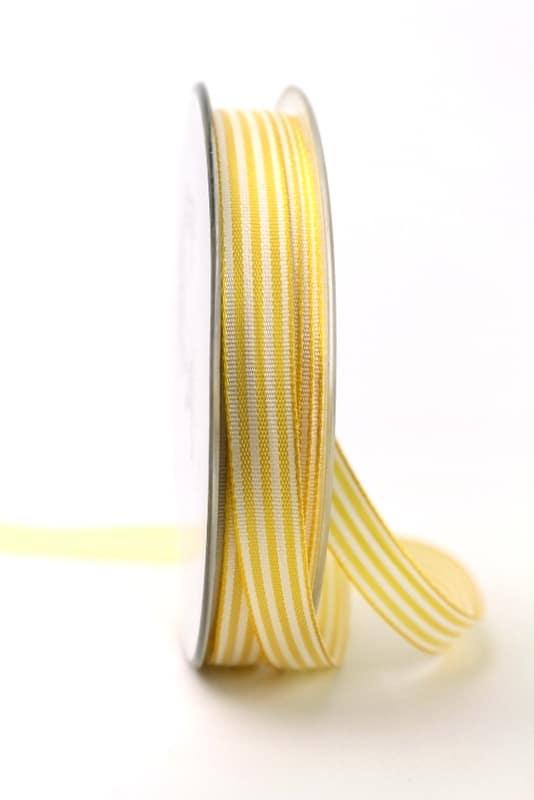 Schmales Taftband mit Streifen gelb-weiß, 10 mm breit - dekoband