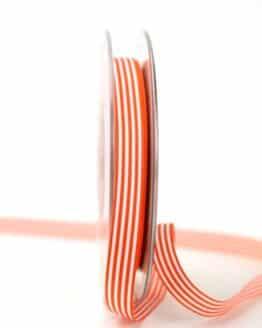 Schmales Taftband mit Streifen orange-weiß, 10 mm breit - dekoband
