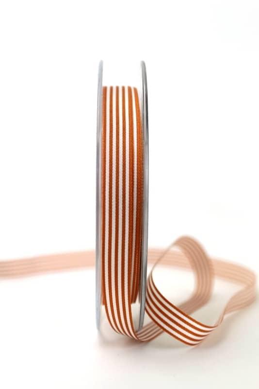 Schmales Taftband mit Streifen rost-weiß, 10 mm breit - geschenkband-gemustert, dekoband