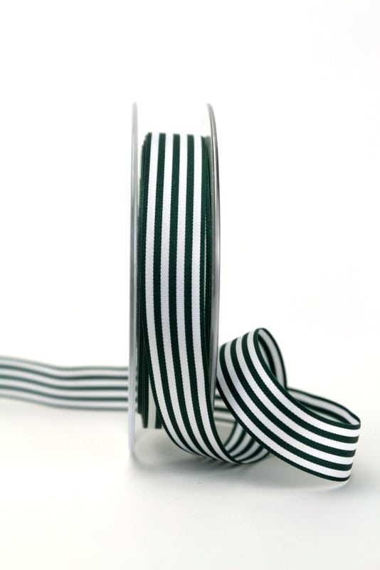 Schmales Taftband mit Streifen dunkelgrün-weiß, 15 mm breit - geschenkband-gemustert, dekoband