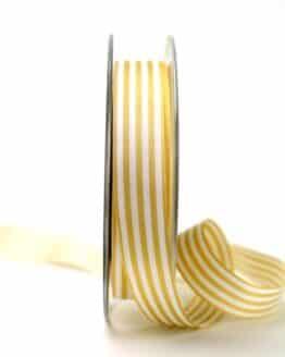 Schmales Taftband mit Streifen ocker-weiß, 15 mm breit - geschenkband-gemustert, dekoband