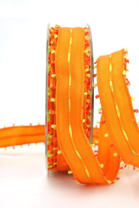 Geschenkband orange-grün, 25 mm breit - sonderangebot, dekoband-mit-drahtkante