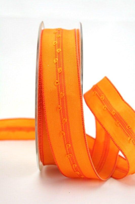 Schlichtes Geschenkband orange, 25 mm breit - dekoband-mit-drahtkante
