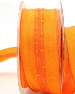 Schlichtes Geschenkband orange, 40 mm breit - dekoband-mit-drahtkante