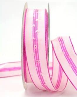 Schlichtes Geschenkband rosa, 25 mm breit - dekoband-mit-drahtkante