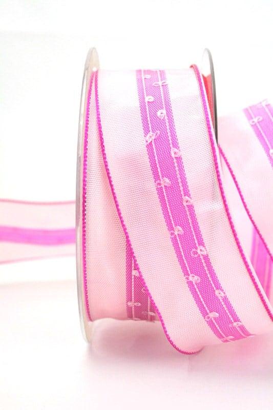 Schlichtes Geschenkband rosa, 40 mm breit - dekoband-mit-drahtkante