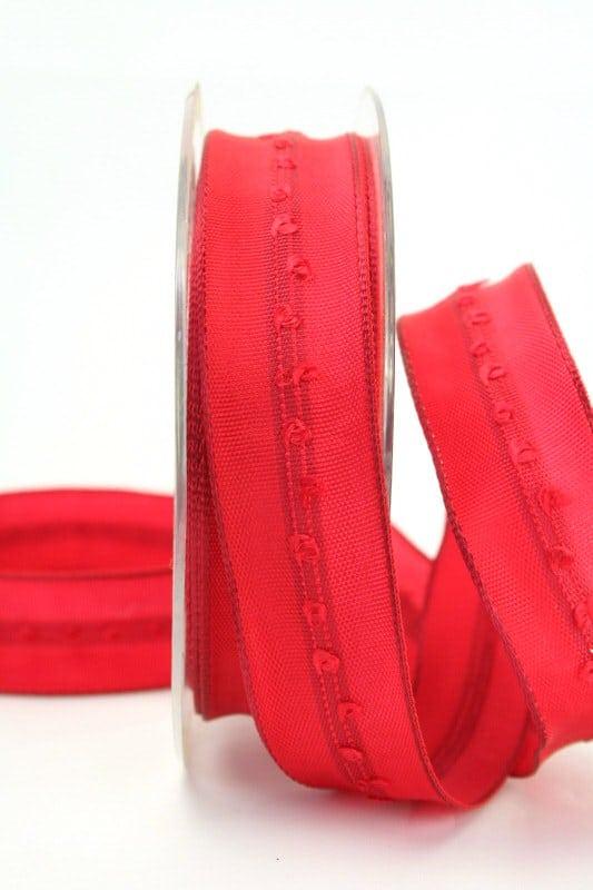 Schlichtes Geschenkband rot, 25 mm breit - geschenkband-weihnachten, dekoband-mit-drahtkante