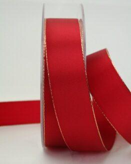 Geschenkband rot mit Goldkante, 25 mm breit - taftband, sonderangebot, geschenkband-weihnachten