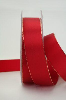 Geschenkband rot Goldkante 25mm (70148-25-300)