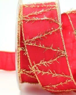 Geschenkband rot mit goldenen Fransen, 40 mm breit - sonderangebot, geschenkband-weihnachten
