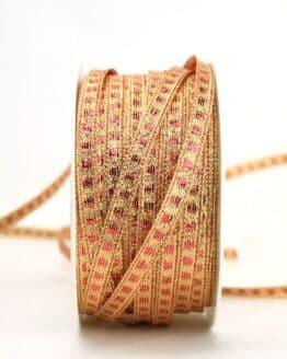 Schmales Weihnachtsband rot-gold, 5 mm breit - weihnachtsband, sonderangebot, geschenkband-weihnachten