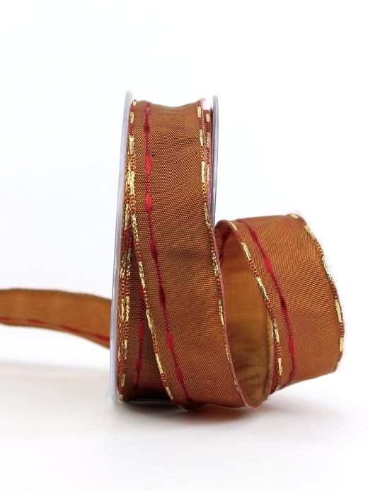 Weihnachtsband mit Streifen, terra-gold, 25 mm breit - geschenkband-weihnachten-gemustert, geschenkband-weihnachten