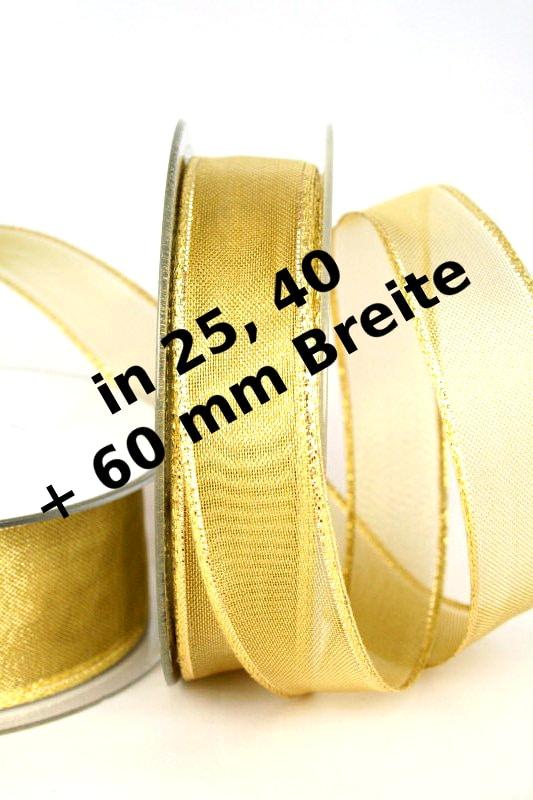 Transparentes Geschenkband für Weihnachten, 25, 40 und 60 mm, gold - weihnachtsband