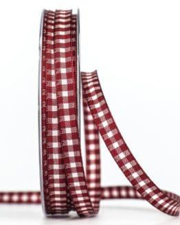 Schmales Karoband, bordeauxrot, 8 mm breit - karoband, geschenkband