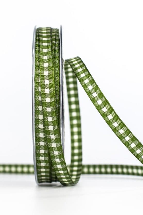 Schmales Karoband, grün, 8 mm breit - karoband, geschenkband