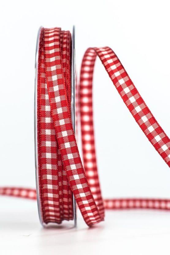 Schmales Karoband, rot, 8 mm breit - karoband, geschenkband