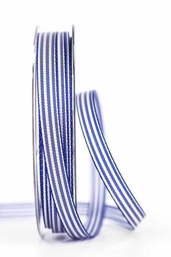 Gestreiftes Geschenkband, blau, 10 mm breit - geschenkband, geschenkband-gemustert