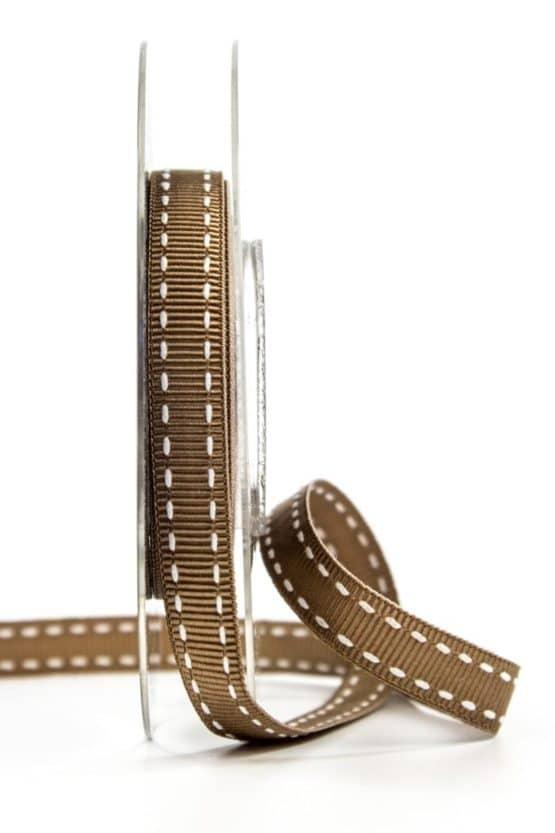 Stichband, braun, 10 mm breit - geschenkband, geschenkband-gemustert