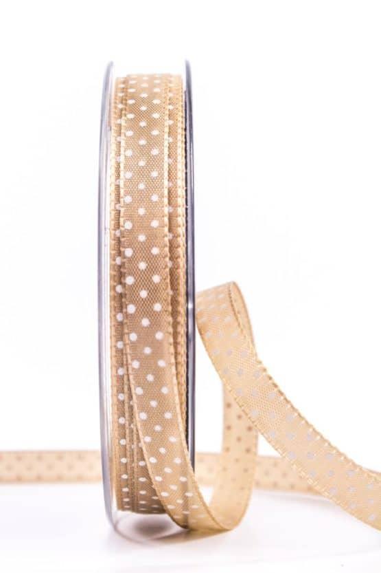 Taftband mit Punkten, braun, 10 mm breit - geschenkband-mit-punkten, geschenkband, geschenkband-gemustert