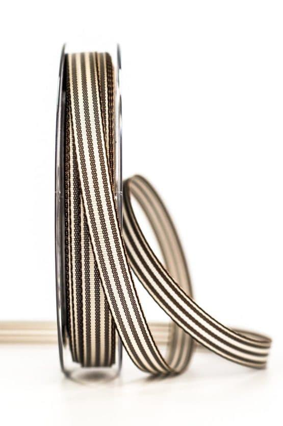 Gestreiftes Geschenkband, dunkelbraun, 10 mm breit - geschenkband, geschenkband-gemustert