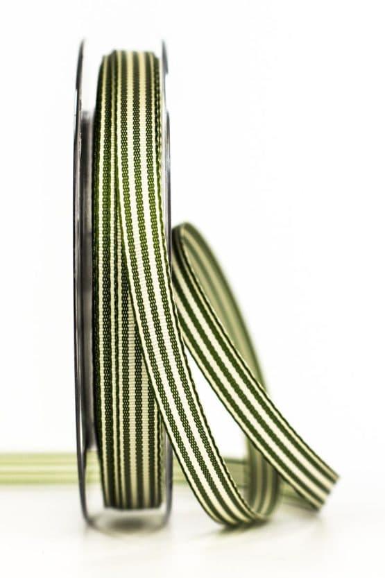 Gestreiftes Geschenkband, dunkelgrün, 10 mm breit - geschenkband, geschenkband-gemustert