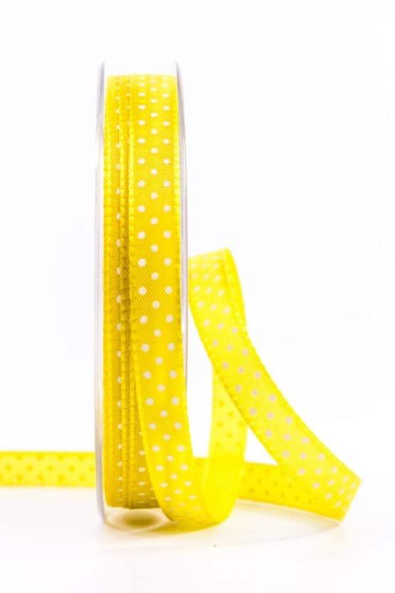 Taftband mit Punkten, gelb, 10 mm breit - geschenkband-mit-punkten, geschenkband, geschenkband-gemustert