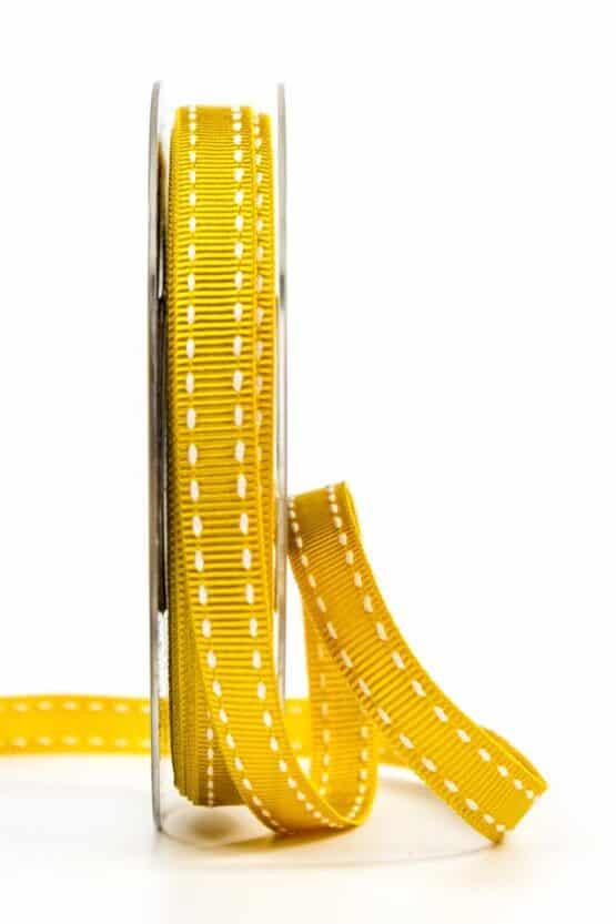 Stichband, gelb, 10 mm breit - geschenkband, geschenkband-gemustert