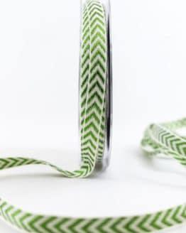 Raffiniertes Geschenkband mit Zackenmuster, grün, 10 mm breit - weihnachtsbaender, geschenkband-weihnachten-gemustert, geschenkband-weihnachten