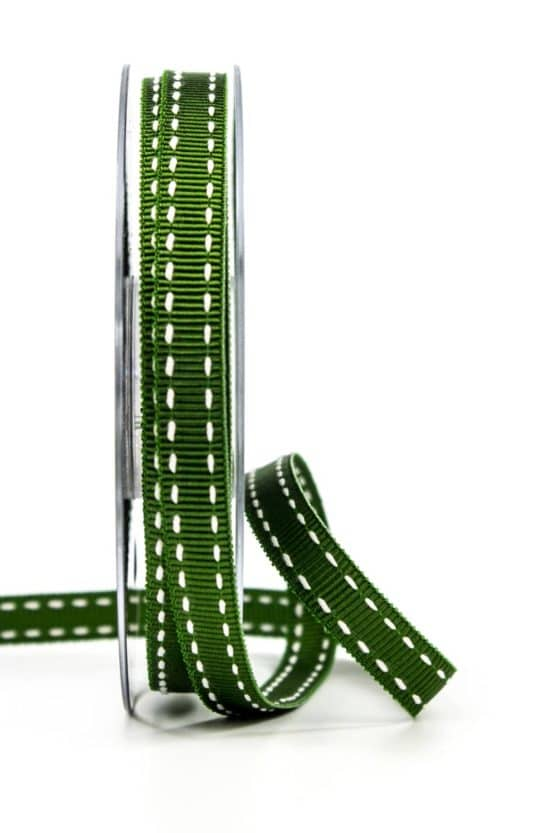 Stichband, dunkelgrün, 10 mm breit - geschenkband, geschenkband-gemustert
