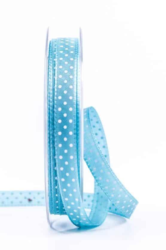 Taftband mit Punkten, türkis, 10 mm breit - geschenkband-mit-punkten, geschenkband, geschenkband-gemustert