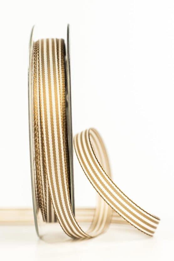 Gestreiftes Geschenkband, braun, 10 mm breit - geschenkband, geschenkband-gemustert