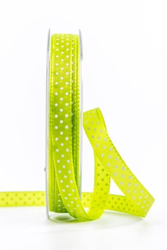 Taftband mit Punkten, grün, 10 mm breit - geschenkband-mit-punkten, geschenkband, geschenkband-gemustert