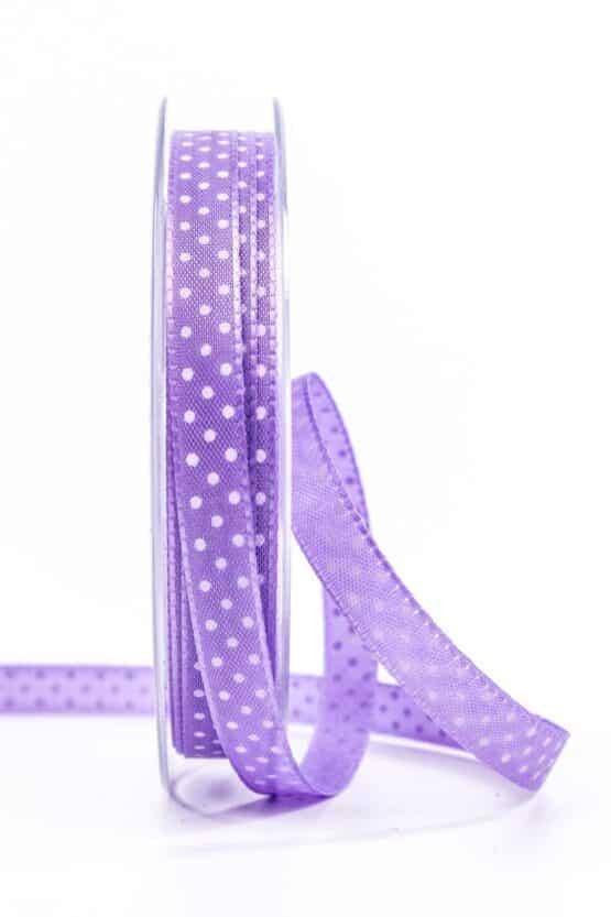 Taftband mit Punkten, lila, 10 mm breit - geschenkband-mit-punkten, geschenkband, geschenkband-gemustert