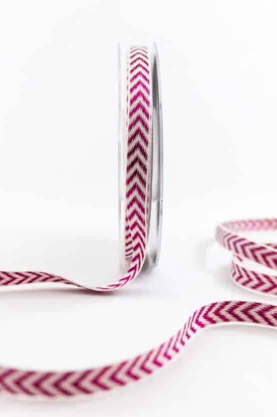 Raffiniertes Geschenkband mit Zackenmuster, lila, 10 mm breit - weihnachtsbaender, geschenkband-weihnachten-gemustert, geschenkband-weihnachten
