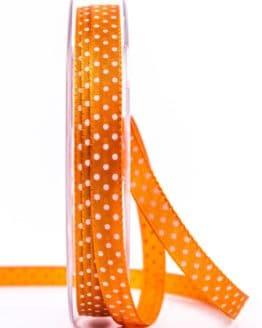 Taftband mit Punkten, orange, 10 mm breit - geschenkband-mit-punkten, geschenkband, geschenkband-gemustert