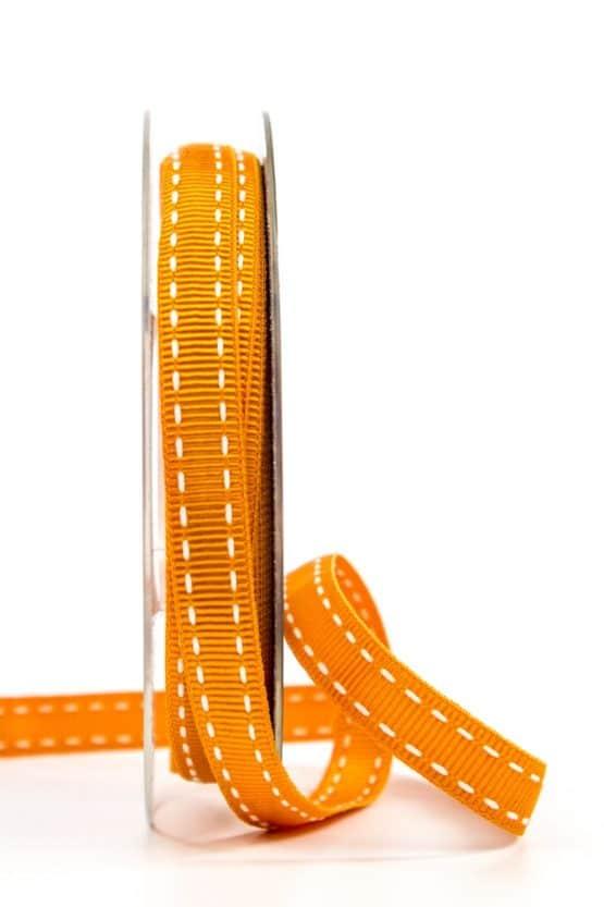 Stichband, orange, 10 mm breit - geschenkband, geschenkband-gemustert