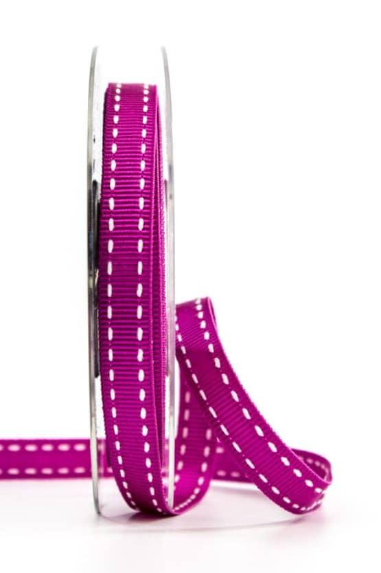 Stichband, pink, 10 mm breit - geschenkband, geschenkband-gemustert