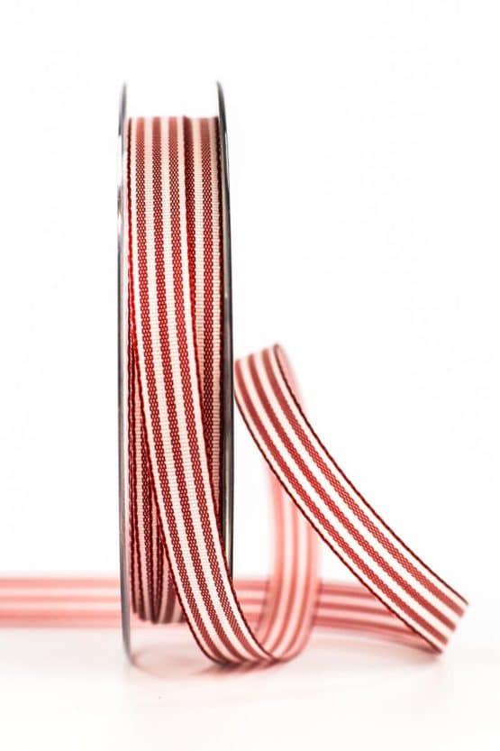 Gestreiftes Geschenkband, rot, 10 mm breit - geschenkband, geschenkband-gemustert