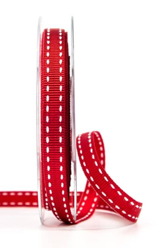 Stichband, rot, 10 mm breit - geschenkband, geschenkband-gemustert
