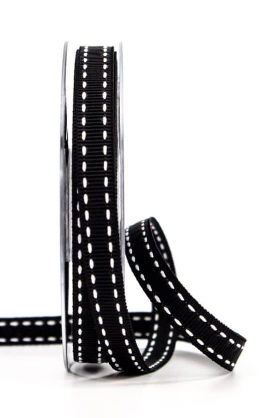 Stichband, schwarz, 10 mm breit - geschenkband, geschenkband-gemustert