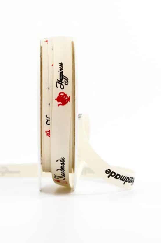 """Leinenband """"Handmade"""", 10 mm breit - geschenkband, geschenkband-gemustert, dekoband"""