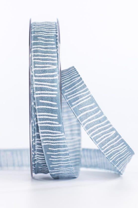 Leinenstrukturband mit Streifen, jeansblau, 15 mm breit - geschenkband, geschenkband-gemustert