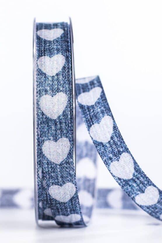 Jeansband mit Herzen, blau, 15 mm breit - geschenkband, geschenkband-mit-herzen