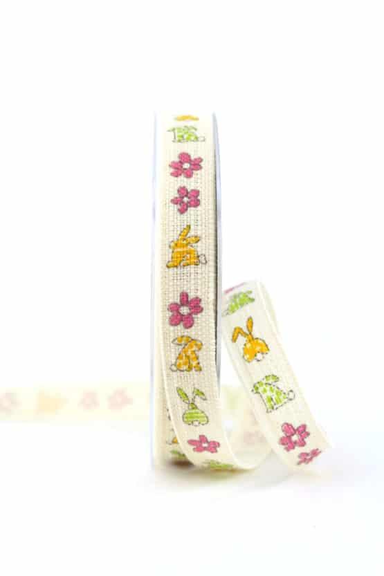 Osterhasen-Band, bunt, 15 mm breit - ostern, geschenkband, geschenkband-fuer-anlaesse, anlasse