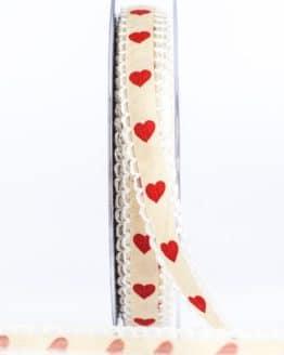 Rüschenband mit roten Herzen, crème, 15 mm breit - valentinstag, muttertag, geschenkband, geschenkband-mit-herzen, geschenkband-gemustert, geschenkband-fuer-anlaesse, anlasse