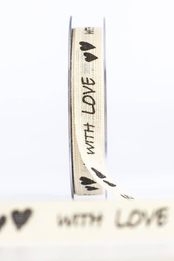 """Leinenband """"With Love"""", natur, 15 mm breit - vintage-baender, geschenkband, geschenkband-mit-herzen"""