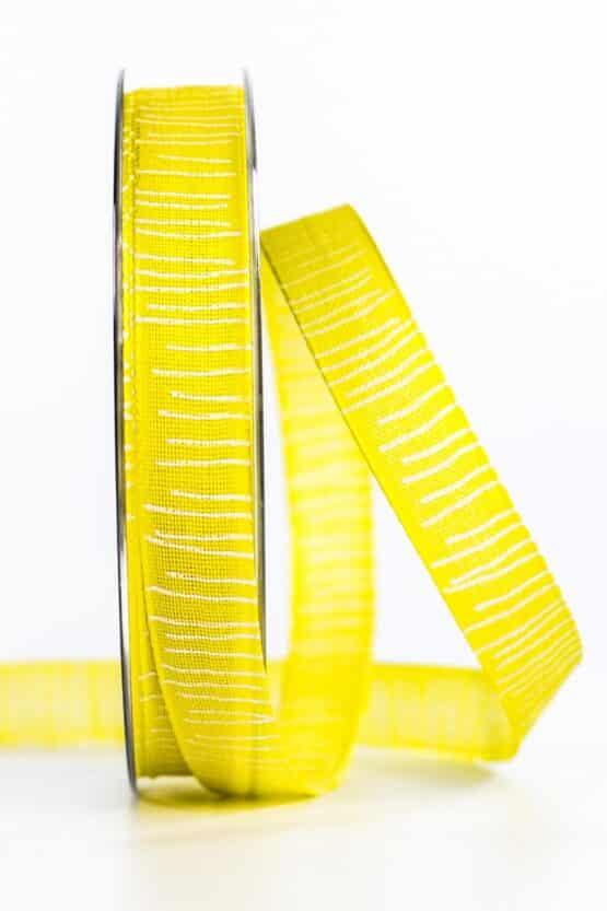 Leinenstrukturband mit Streifen, gelb, 15 mm breit - geschenkband, geschenkband-gemustert