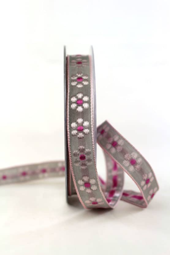 Hochwertiges Dekoband mit gewebten Blüten, grau-pink, 15 mm breit - geschenkband, geschenkband-gemustert, dekoband
